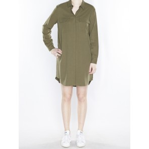 LONGER LENGTH TENCEL SHIRT DRESS 136808