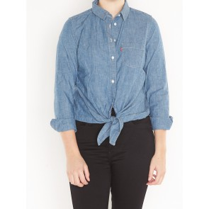 LIZA TIE SHIRT-MEDIUM LIGHT WASH