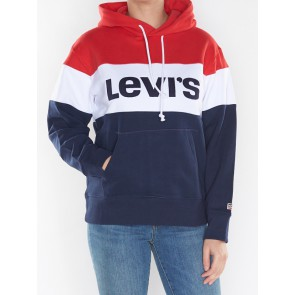 COLORBLOCK SPORT HOODIE-CHINESE RED/WHITE/PEACOAT