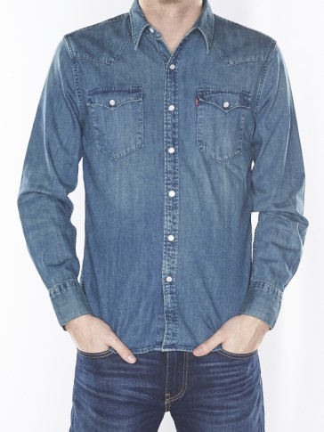 BARSTOW WESTERN SHIRT-SANDY TINT MEDIUM BLUE