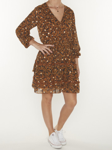 PRESLEY PAISLEY RUFFLE DRESS