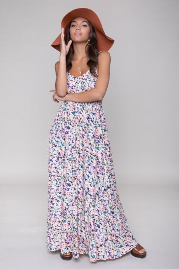 SOPHIE AQUAREL SMOCK MAXI DRESS