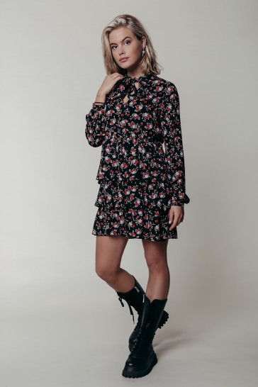 KIMI FLOWER PLISSE DRESS