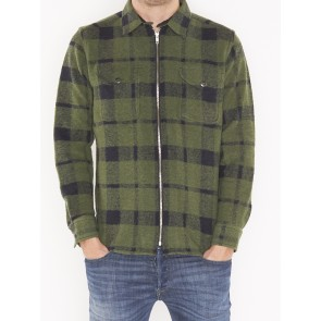 WOOL ZIP OVERSHIRT NEW ARMY GREEN-L67LVRKE