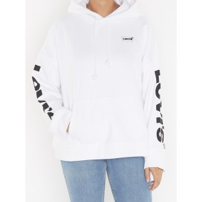 GRAPHIC OVERSIZED HOODIE-SLEEVE LOGE WHITE