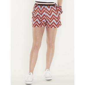 drapey printed shorts with shorty rib -149982
