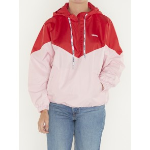 KIMORA JACKET-COLORBLOCK RAGLAN PINK LADY/BRILLIANT RED