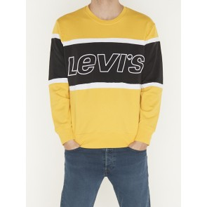 PIECED CREW SWEATSHIRT-BRILLIANT YELLOW