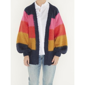 BRUSHED COLOURFUL STRIPED CARDIGAN-153196