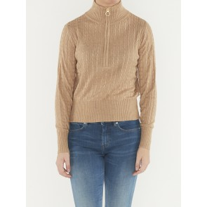 CASHMERE BLEND CABLE ANORAK KNIT 156259